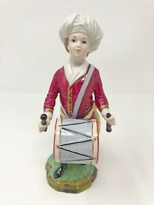 Höchster Porzellan Trommler Figur aus Türkenkapelle Musikant mit Trommel 18 cm