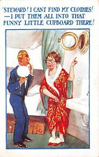 POSTCARD   COMIC   Lady  Clothes  Porthole  Steward...