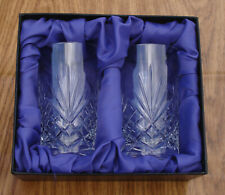 More details for pair hand cut glass tumblers couples wedding anniversary gift presentation box