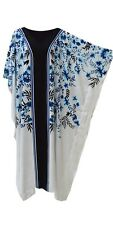 New ARWEN White Blue Black Floral Kaftan Caftan Cool Soft Long Ladies Dress Plus