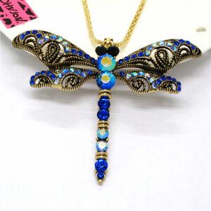Hot Betsey Johnson Blue Enamel Cute Dragonfly AB Crystal Pendant Women Necklace