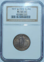 1917 D NGC MS63FH Full Head T1 Type 1 Standing Liberty Quarter 25c