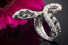 Schmuck Exklusiver Ring Schlange Brillanten Saphir Rubin Tsavorit Weißgold 750