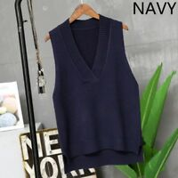 Lady Knitted Vest Waistcoat Sweater Jumper Tank Top V Neck Sleeveless Warm Solid