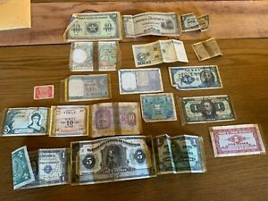 WWII SHORT SNORTER  20 Paper Currency From Around the World