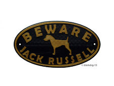 Jack Russell & Motif Beware Of The Dog Sign - House Garden Plaque - Gold/Black