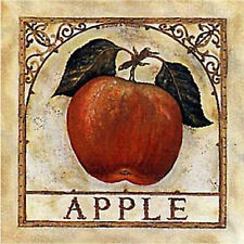 APPLE BASKET WROUGHT IRON SET OF 4 COASTERS RUBBER BACKED W/ FABRIC TOP