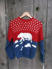"Vintage 1980s Christmas Sweater Polar Bear Womens Acrylic Knit Knitted Bust 40"""
