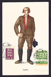 1933 CTO postmarked Eesti Estonian stamps on Estonia Costume Audru postcard CPA