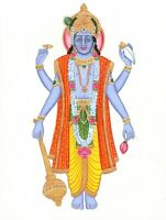 Lord Vishnu Hindu God Silk Cloth Painting Home Decor Wall Hanging Painting