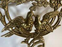 Vintage Large 14 X 17 Brass Floral Bow Dove Cross Ormolu Wall Mount Decor