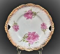 VINTAGE LARGE CABINET CHARGER PLATE WITH ROSES AND GOLD GILT