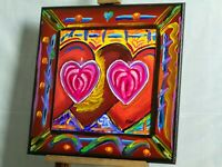 Heart Mirage Painting Pop Art Artist Signed Mira Wood Painted Frame COA