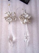 2 Vintage Crystal Acrylic Silver Glitter Drop Christmas Tree Baubles Decoration