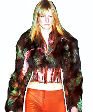 Roberto Cavalli Multi Color Fox Fur Ostrich Feather Decorated Corset Jacket