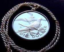 "Virgin Island 925 Silver Dollar Pendant on a 24"" Italian Silver Rope Chain"