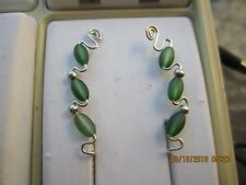 Pair Green Sterling Silver Filled Wire Ear Vines Climbers Ear Pins .... 018