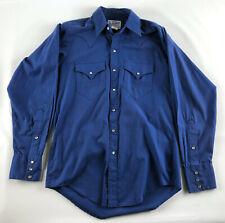 Tru-West Rockmount Ranch Wear Mens Pearl Snap Long Sleeve Shirt Blue - Size M