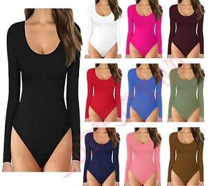 Women Long Sleeve Leotard Bodysuit Top Ladies stretch Body Top Tee shirt UK8-26.