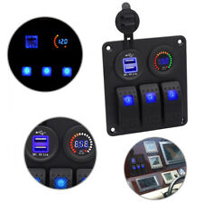 3Gang LED Schaltpanel Voltmeter +USB12V-24V Schalter Schalttafel für Bus Marine