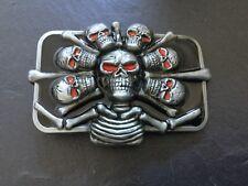 Múltiples cráneos cráneo ojo rojo nuevo Hebilla de Cinturón Plata Metal De Color