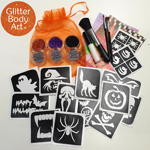Halloween Temporary Tattoos for Kids - Glitter Set - UK Free Delivery