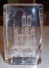Crystal Clear Cube Paperweight  (I Love NY) Twin Towers Statue of Liberty