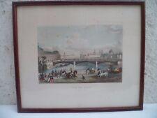 Ancienne petite gravure XIXème siècle encadrée sous verre vue de Paris