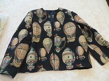 HOT AIR BALLOON TAPESTRY FABRIC WOMENS JACKET COAT MONTGOLFIER STYLE BALLOONS