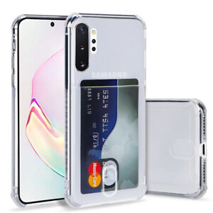 For Samsung Galaxy Note 10 Plus S10 A70 Credit Card Slot Pocket Clear Case Cover