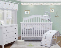 6-Piece Forest Fox Grey Baby Boy Girl Nursery Crib Bedding Sets By OptimaBaby