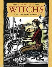 """Witch's Coloring Book Fantasy Art Llewellyn NEW 9"""" x 11"""" Wicca Pagan Scenes"""