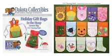 DAKOTA COLLECTIBLES EMBROIDERY CD DESIGN DISK HOLIDAY GIFT BAGS IN THE HOOP 5X7