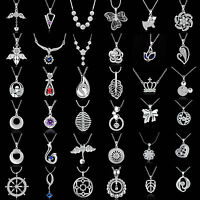 Fashion Charm Jewelry Crystal 925 Silver Filled Pendant Chain Necklace 61-72