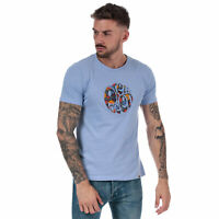 Mens Pretty Green Aster Applique Logo T-Shirt in Lilac.