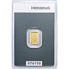 Heraeus 1 g GRAM Fine Gold Bar Bullion 999.9 - Free p&p