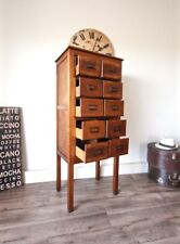 Rare 10 Drawer Vintage Library Card File Cabinet Industrial Filing Storage