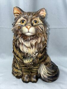 """Vintage Hand Painted Domestic Long Hair Cat 12"""" Tall Base 11"""" W Ceramic Statue"""
