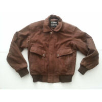 U2 Wear Me Out Men SIze 38 Brown Leather Pilot Jacket Insulated