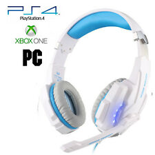 Pro Gamer PS4 Headset for PlayStation 4 Xbox One & PC Computer White Headphones