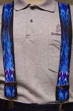 "Suspenders 2""x48"" FULLY Elastic Biker Flames Blue NEW"