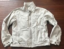 Columbia Woman's Khaki Beige Tan Zip Up 6 Pocket Cotton Jacket Coat Sz M