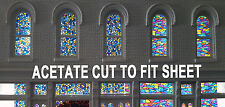 8013 DAVE'S DECALS - ACETATE STAINED CHURCH VICTORIAN GLASS CUT TO FIT SETS 1