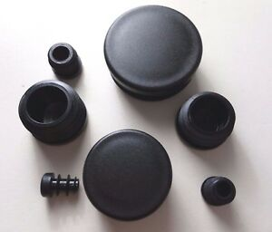 Round Plastic Blanking End Caps  Pipe Tube Inserts Plugs Bungs / Black