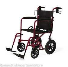 """Medline Premium Deluxe Transport Chair Wheelchair with 12"""" Rear Wheels - Red"""