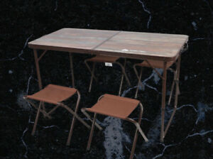 """Ozark Trail Durable Steel and Aluminum Table And Stools, Open Dims 19.29 x 24.6"""""""