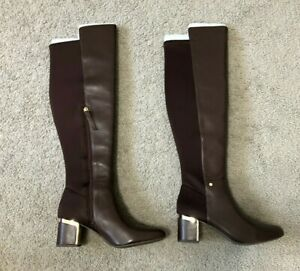 DKNY Women's Cora Knee High Boots Brown Bark Leather Size 9M - NEW WITH BOX