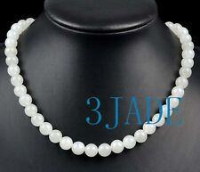 """17"""" Natural White Nephrite Jade Beads Necklace A+ Grade Hetian Jade Certified"""