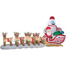 CHRISTMAS SANTA RUDOLPH REINDEER BUMBLE SLED SLEIGH AIRBLOWN INFLATABLE 16.5 FT*