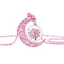 Halskette mit Anhänger Halbmond Mond Vintage Retro Baum Glascabochon rosa